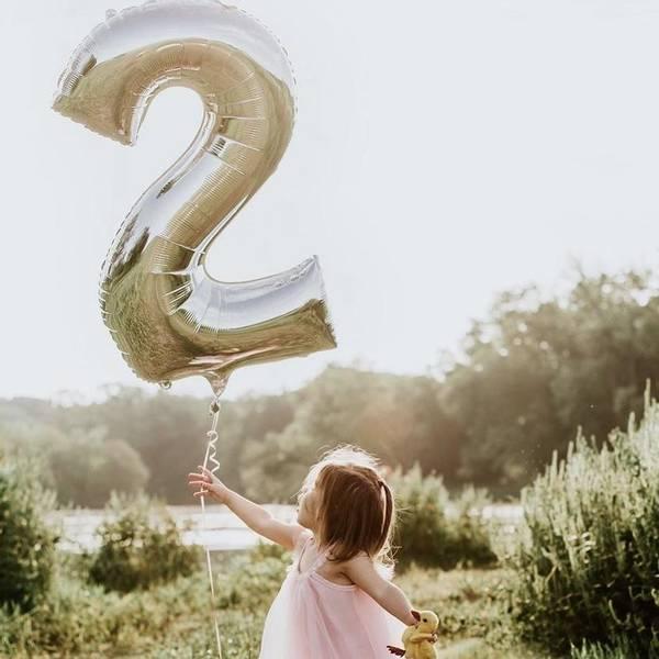 Bilde av Sølvfargede Tallballonger 86 cm