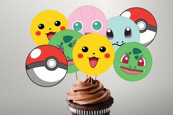 Bilde av Fargerike Pokemon, Toppers, 8 stk