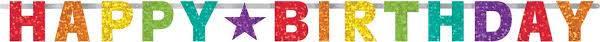 Bilde av Fargerik Skinnende Happy Birthday Banner, 213 cm