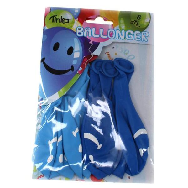 Bilde av Blå Smiley Ballonger, 8 stk