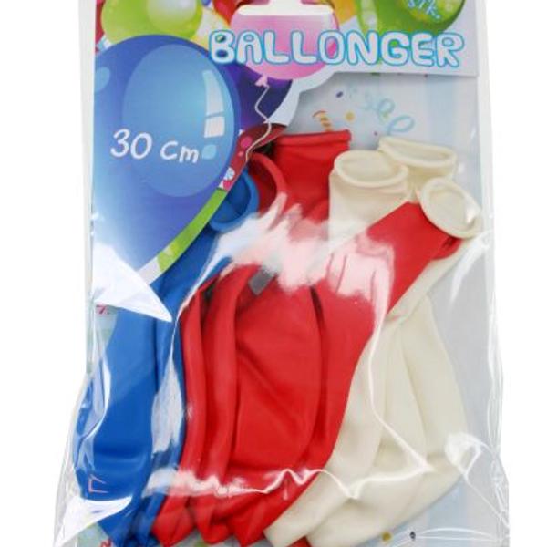 Bilde av Rødt hvitt og blått, Ballonger, 10 stk