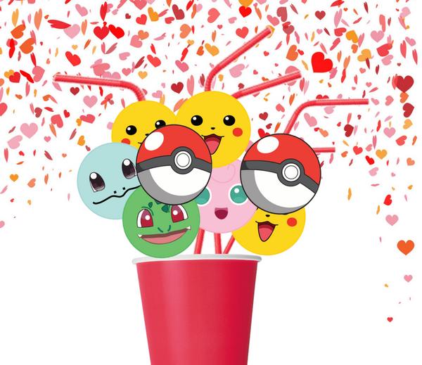 Bilde av Fargerike Pokemon, Sugerør, 8 stk