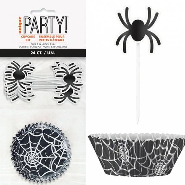 Bilde av Halloween Edderkopp Muffinsformer med toppers, 24 stk