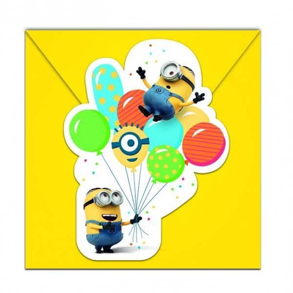 Bilde av Minions Ballon Party Innbydelseskort, 6 stk