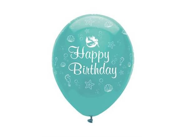 Bilde av Havfrue Happy Birthday Ballonger, 6 stk