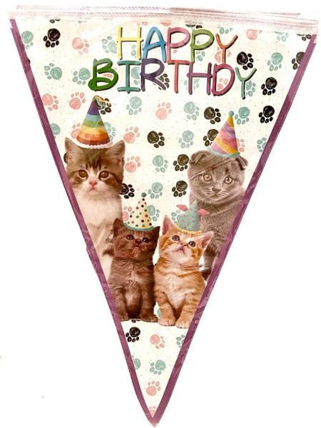Bilde av Katt, Happy Birthday Flaggbanner
