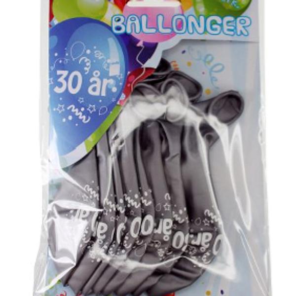 Bilde av Sølv Ballonger, 30 år, 8 stk