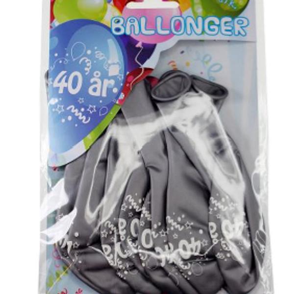 Bilde av Sølv Ballonger, 40 år, 8 stk