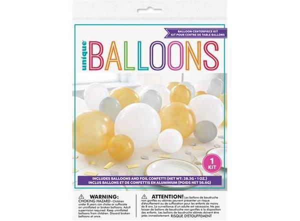 Bilde av Gull,sølv,hvit ballongdekor m/konfetti