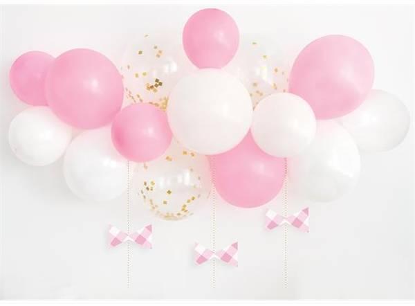 Bilde av Rosa og hvit ballongbue med sløyfer