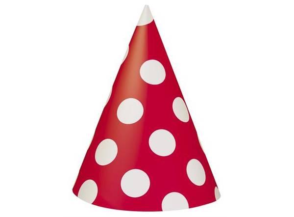 Bilde av Røde Prikkete Partyhatter, 8 stk