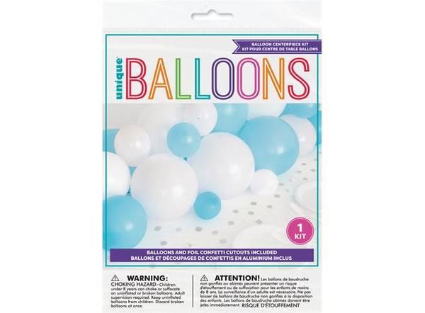 Bilde av Blå Hvit & Sølv ballongdekor M/konfetti