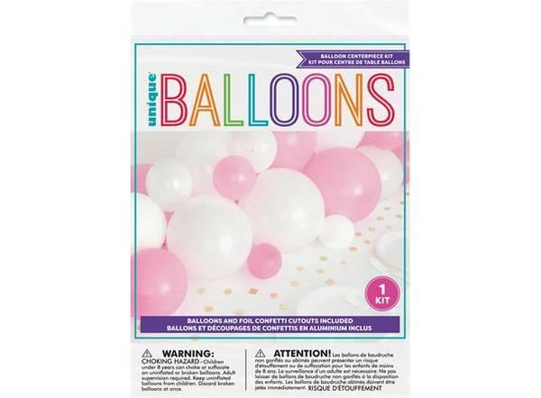 Bilde av Rosa Hvit & Gull ballongdekor M/konfetti