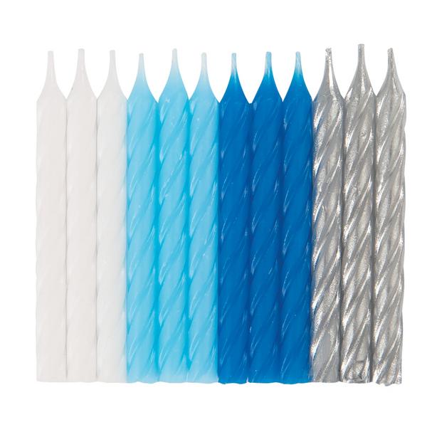 Bilde av  Spiral kakelys blå, hvit og sølv, 24stk