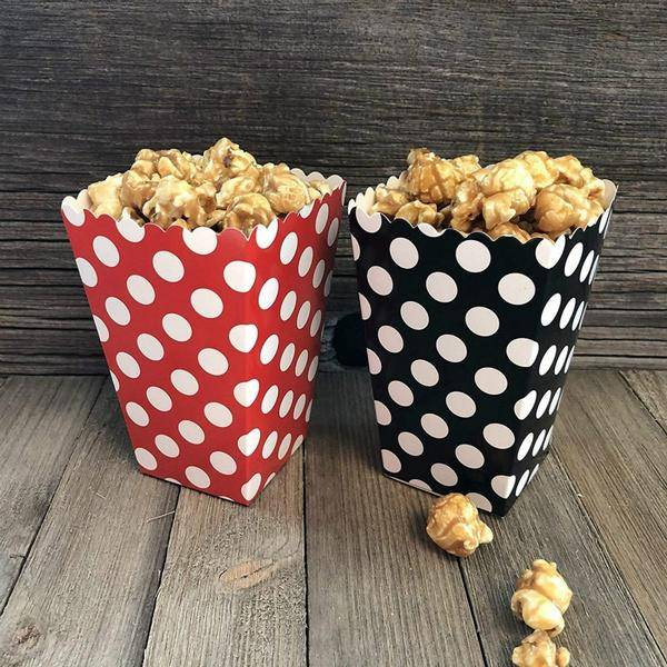 Bilde av Prikkete Røde Popcorn/Snacks boks, 8 stk