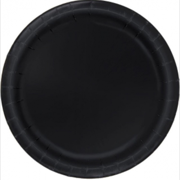 Bilde av Svarte Papptallerker, 22 cm, 8stk