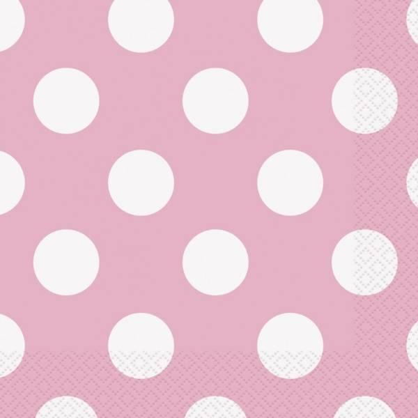 Bilde av Lyserosa servietter med Polka dots, 16 stk