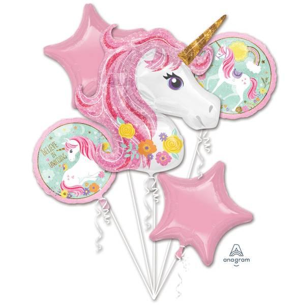 Bilde av Magical Unicorn, Folieballongbukett, 5 Stk