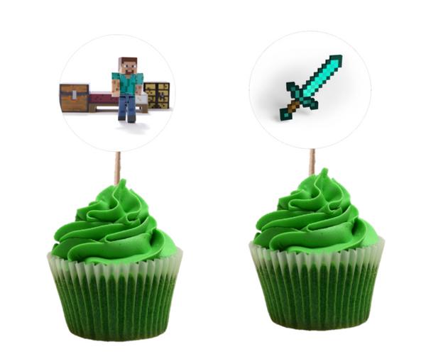 Bilde av Pixel, Cupcaketoppere, 8 stk