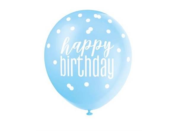 Bilde av Happy birthday Blå og Hvite ballonger m/prikker