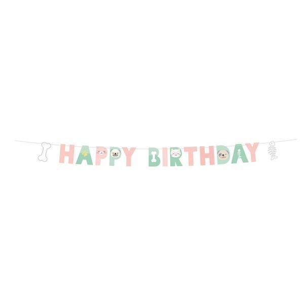 Bilde av Katt og Hund, Happy Birthday Banner