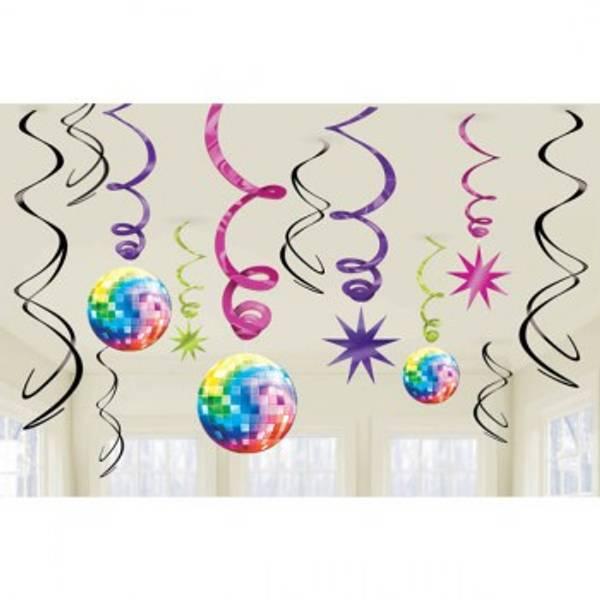 Bilde av Disco Hengende Swirl dekorasjon, 12 deler