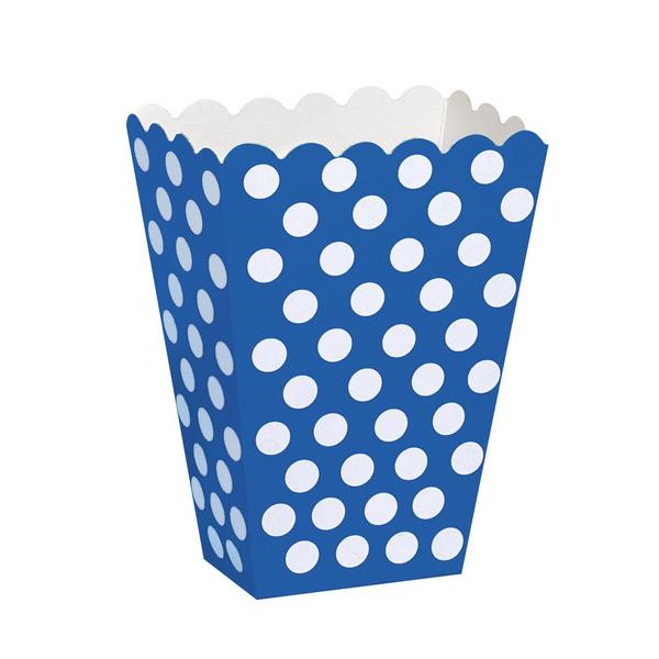 Bilde av Prikkete blå Popcorn/Snacks boks, 8 stk