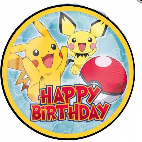 Bilde av Pokemon Happy Birthday, Kakebilde Sukkerpapir, 20cm