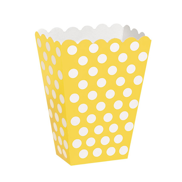 Bilde av Prikkete gul Popcorn/Snacks boks, 8 stk