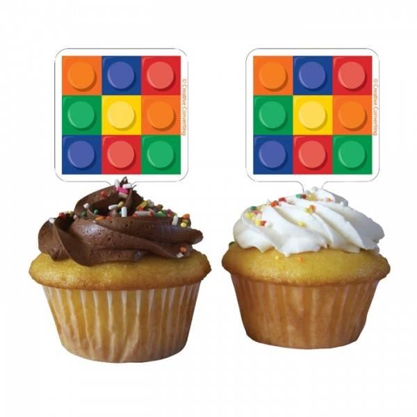 Bilde av Byggeklosse Cupcake Toppers, 12 stk