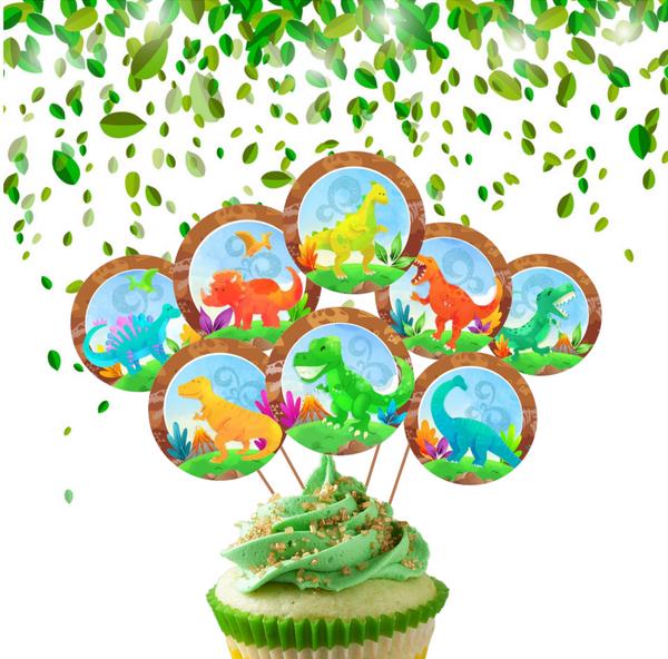 Bilde av Happy Dinosaur, Cupcaketoppers, 8 stk