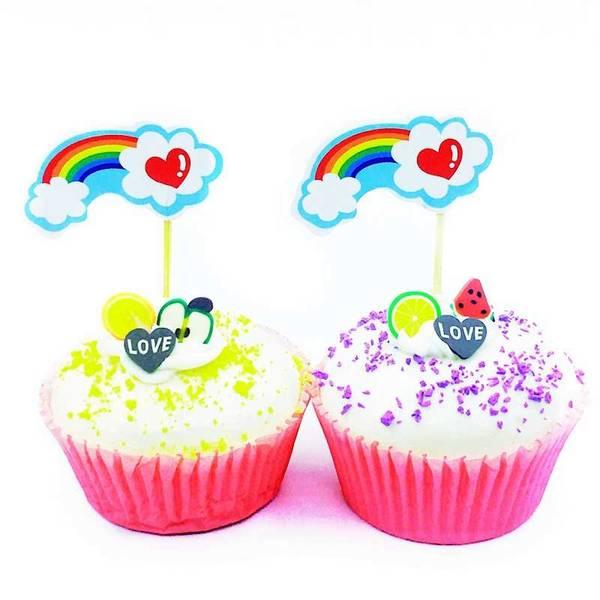 Bilde av Regnbue Cupcaketoppers 8 stk