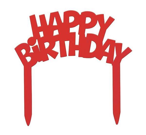 Bilde av Happy Birthday Kaketopper, Rød