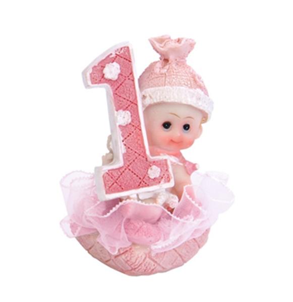 Bilde av Første Bursdag, Rosa Baby Porselensfigur