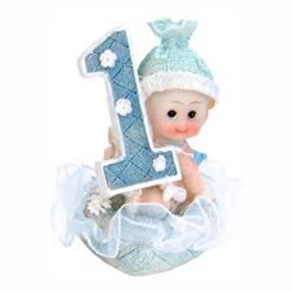 Bilde av Første Bursdag, Blå Baby Porselensfigur