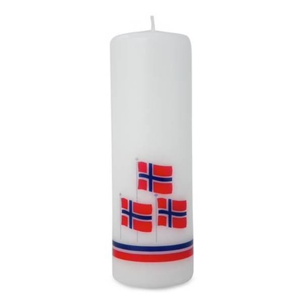 Bilde av Norgesflagg, Kubbelys, 15 cm