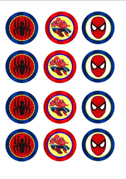 Bilde av Spiderman Spiselig Cupcakebilder, 12 stk