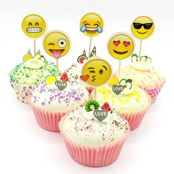 Bilde av Emoji, Cupcake Toppers, 12 stk