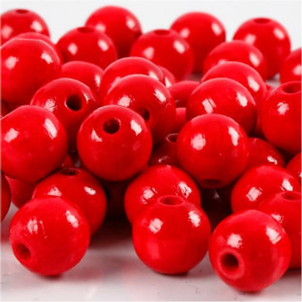 Bilde av Treperler, rød, 8mm, 3 mm, 22 g, 1 p