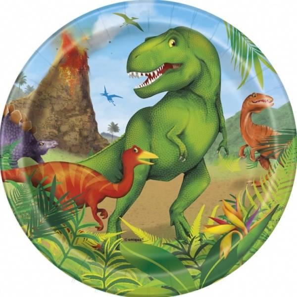 Bilde av Dinosaur Asjetter 18 cm, 8 stk