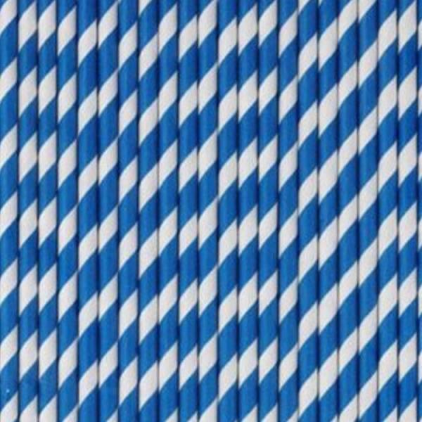 Bilde av Blå Stripet Sugerør, 10 stk