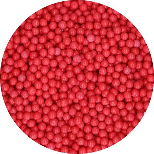 Bilde av Strøssel Shiny Sugar Pearls Red 80g