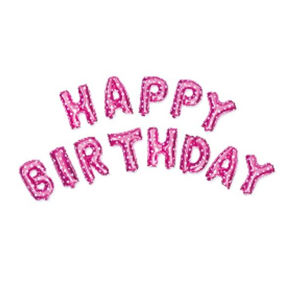 Bilde av Rosa Happy Birthday Folieballong Sett