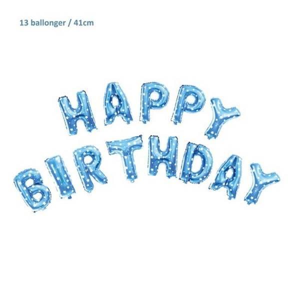 Bilde av Blå Happy Birthday Folieballong Sett