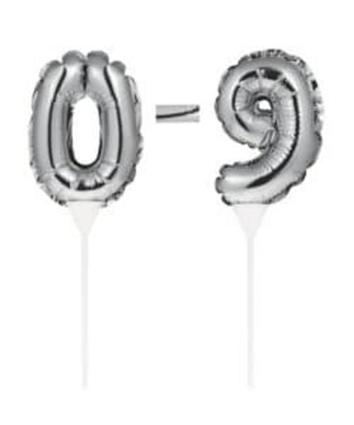 Bilde av Selvoppblåsbare kakeballonger Sølv, 0-9