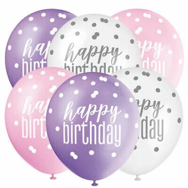Bilde av Happy Birthday Ballonger rosa, lilla og hvit 6stk