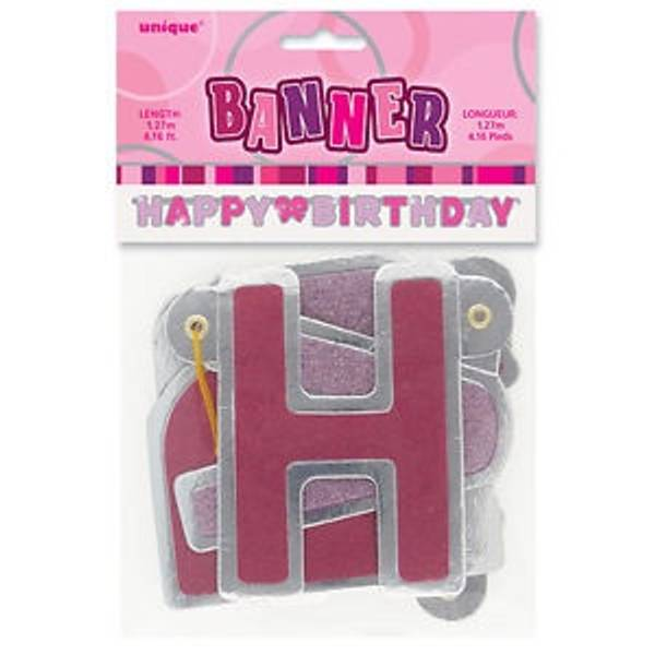 Bilde av Happy Birthday Banner Rosa