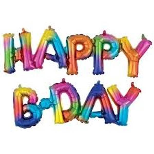 Bilde av Happy B-day Fargerik Folieballong