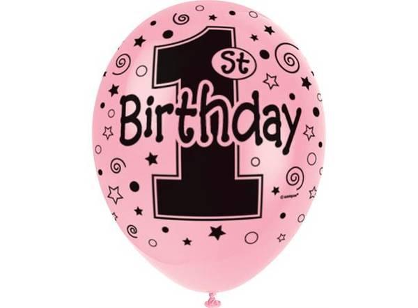 Bilde av 1 Birthday Ballonger, Rosa 5 stk