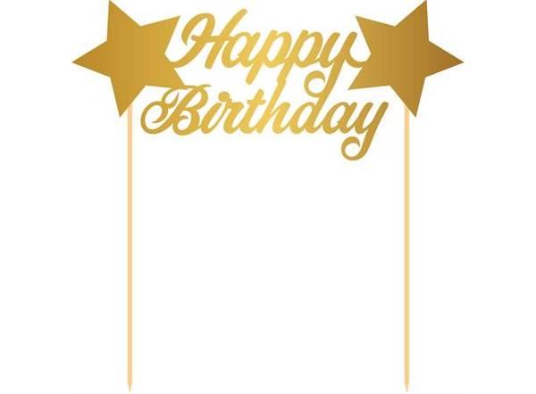 Bilde av Happy Birthday Stjerne, Kaketopper i Gull